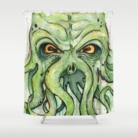cthulhu Shower Curtains featuring Cthulhu by Olechka