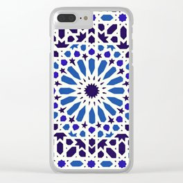 V19 Epic Light Blue Traditional Moroccan Pattern Design . Clear iPhone Case