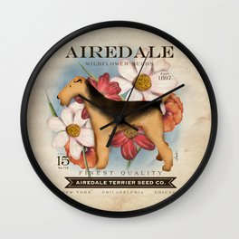 Airedale Terrier Seed Company artwork by Stephen Fowler Wall Clock