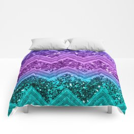 Unicorn Glitter Chevron #3 #shiny #decor #art #society6 Comforters
