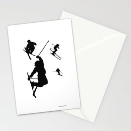 Skiing silhouettes Stationery Cards
