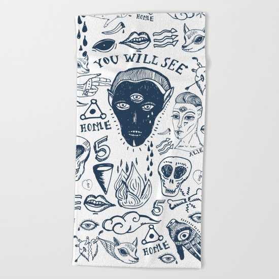 Alien inked Beach Towel