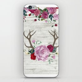 White Wood with Romance Flowers iPhone Skin