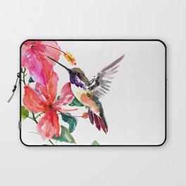 Hummingbird and Hibiscus, tropical Hibiscus design Laptop Sleeve