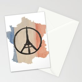 Outline of France with Tri-color Peace Stationery Cards