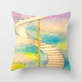 Fantasy Stairs Watercolor Throw Pillow