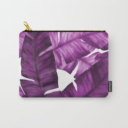 Pink Tropical Banana Leaves Pattern Carry-All Pouch