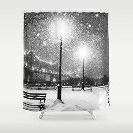 New York City Night Snow Shower Curtain