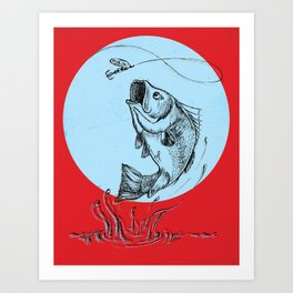 Bass Jumping In Blue Circle2 Art Print