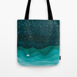 Starry Ocean, teal sailboat watercolor sea waves night Tote Bag