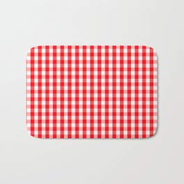 Large Christmas Red and White Gingham Check Plaid Bath Mat