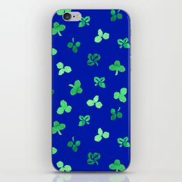 Clover Leaves Pattern on Royal Blue iPhone Skin