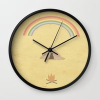 camping Wall Clocks featuring Camping by Tammy Kushnir