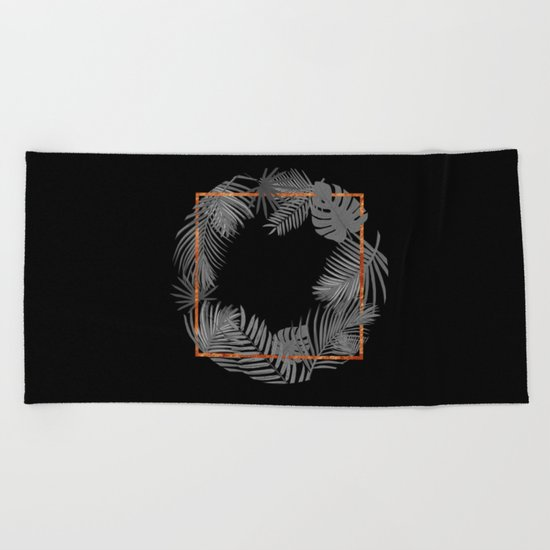 TROPICAL SQUARE COPPER BLACK AND GRAY Beach Towel
