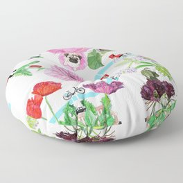 London in Bloom - Flowers and transportation that make London Floor Pillow