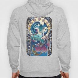 Blue Mermaid with anchor art nouveau design Hoody