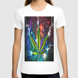 Weed Leaf in Space T-shirt