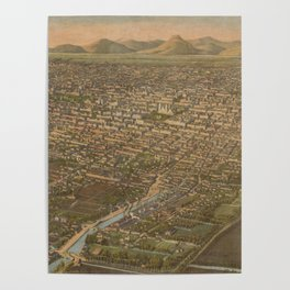 Vintage Pictorial Map of Mexico City (1906) Poster