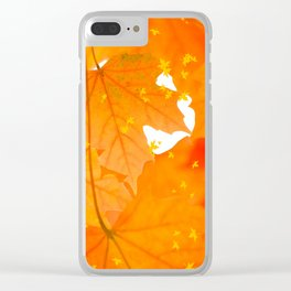 Fall Orange Maple Leaves On A White Background #decor #buyart #society6 Clear iPhone Case