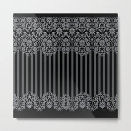Black and Gray Floral Damask Pattern Metal Print