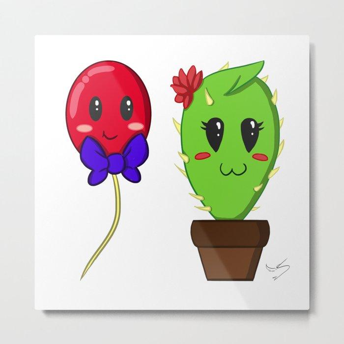 Unfortunate relationship: cute cactus and balloon symbol black Metal Print