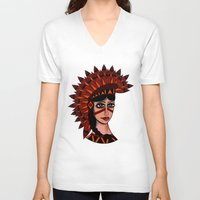 native V-neck T-shirts featuring Native by caffeboy