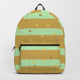Christmas Golden confetti on Gold and Mint Green Stripes Backpack
