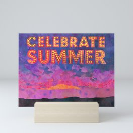 Celebrate Summer Sunset Scene Watercolor Painting Mini Art Print