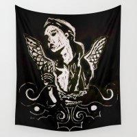 angel wings Wall Tapestries featuring Black (Wings/Angel) by Alexa Brooke Rutledge