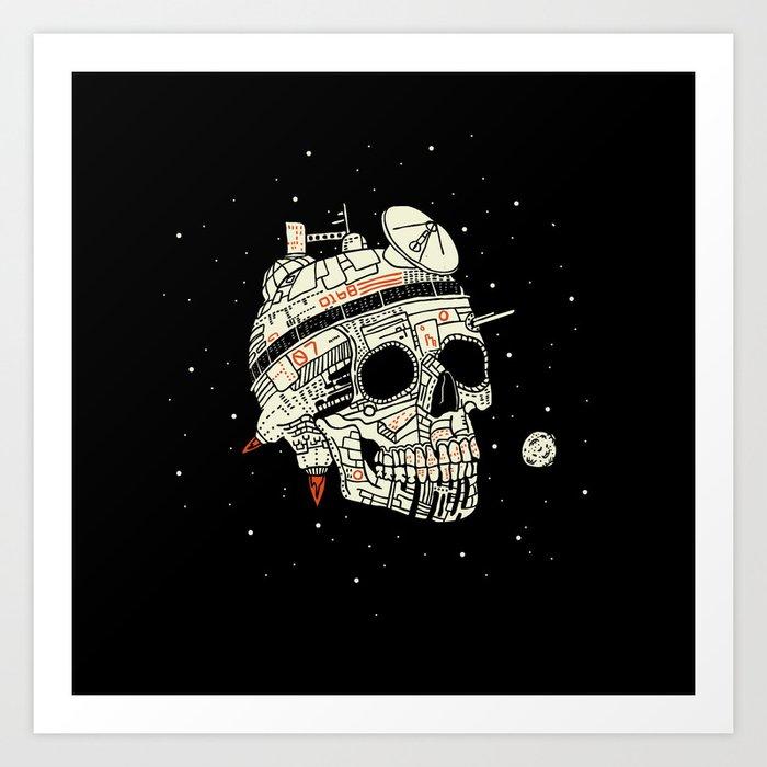Planet Space Skull  Art Print