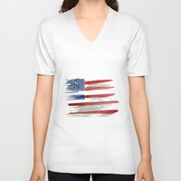 american flag V-neck T-shirts featuring American Flag by Jenny Highsmith