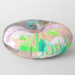 Green and blue hummingbird flying on pink flowers Floor Pillow