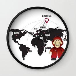 La casa de Papel Money Heist Map Wall Clock