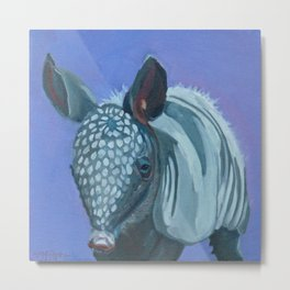 Baby Armadillo Portrait Painting Metal Print