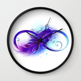 Infinity with Purple Feather Wall Clock