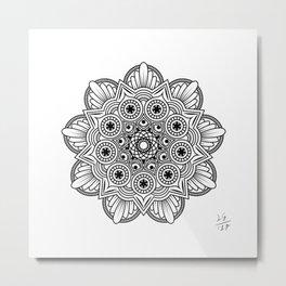 Mandala handmade Drawing, Decoration, Mandala Art, Zen Art Metal Print
