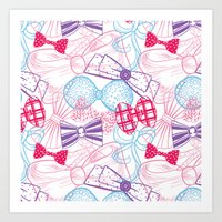 bows Art Prints featuring Bows by Wendy Ding: Illustration