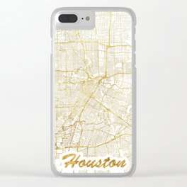 Houston Map Gold Clear iPhone Case