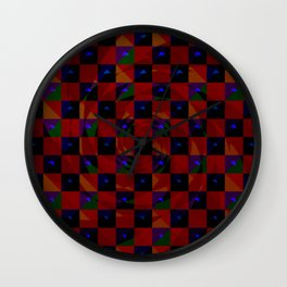 Abstract color checkered swirl with halftones Wall Clock