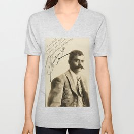 Emiliano Zapata with Signature, c.1915 Unisex V-Neck