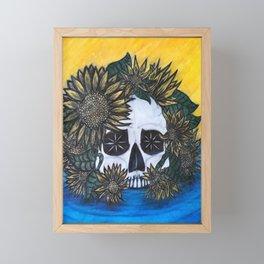 Skull and Sunflowers Framed Mini Art Print