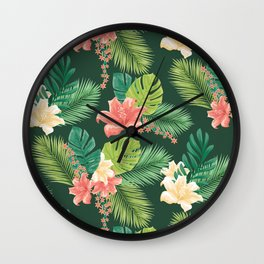 Kitschy Tropical Pattern Wall Clock