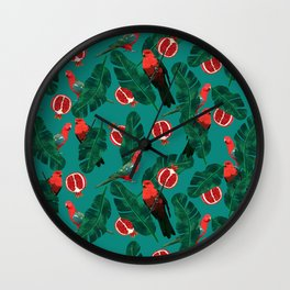 Parrots in the jungle Wall Clock