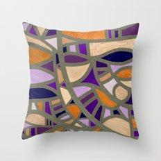 Gaudy Gaudi orange & purple Throw Pillow