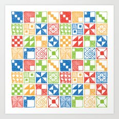 Abstract Squares Primary Art Print