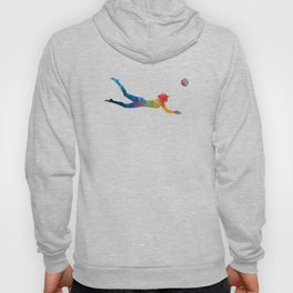 Woman beach volley ball player 01 in watercolor Hoody