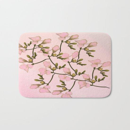 Painterly Pretty Pink Floral Bath Mat