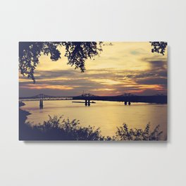 Golden Mississippi River Sunset Metal Print