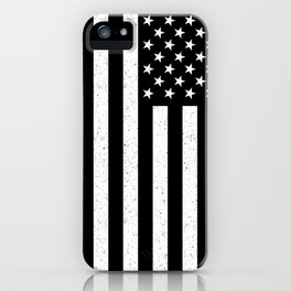 Black and White textured US flag iPhone Case