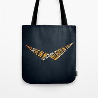 gurren lagann Tote Bags featuring Believe In Me Who Believes In You by 5eth